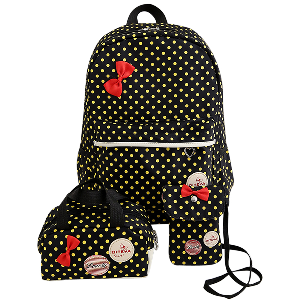 3Pcs Set Dot Canvas Printing Backpack Girl Cute Student Book Bags with Purse Laptop Bag Women
