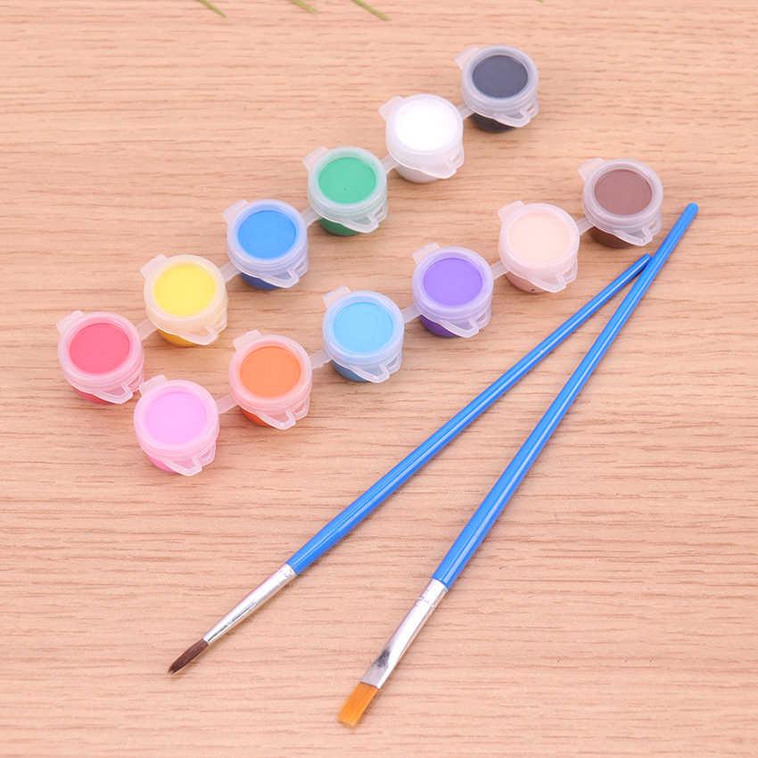 12 Warna Akrilik Cat Air Brush Pigmen Set untuk Pakaian Kain Tekstil Yang Dilukis Tangan Dinding Plester Lukisan Menggambar untuk Anak-anak