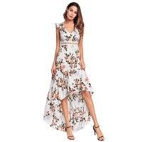 2018 Women Summer Floral Print Sleeveless Backless Dress Sexy Deep V Neck High Low Beach Long