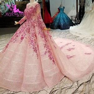 Image 1 - AIJINGYU hint düğün elbisesi dantel Vintage önlük ceket Bridals yeni parlak lüks beyaz top cüppeli elbiseler