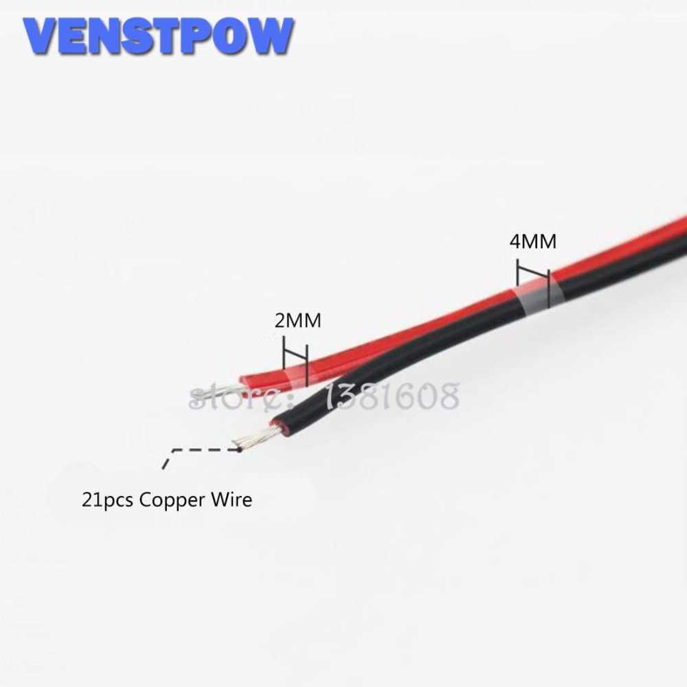 5 M/Lot rouge noir 2 broches 20AWG Extension de LED câble de cuivre aminci avec fil section transversale 0.5 PVC fil isolé pour voiture