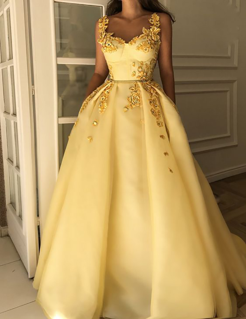 LORIE Yellow Satin Long Formal   Evening     Dress   Sleeveless Robe De Soiree Side Split Prom   Dresses   Plunging 3D Flowers Party Gowns