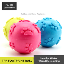 TPR eco-friendly pet toy Rubber footprint ball pet toy bite resistance pet training essential 1pc/lot