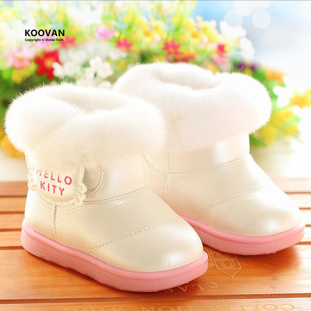 Koovan Children Boots 2017 Snow Baby Boot Children's Shoes Winter For Girls Winter Warm Rabbit Fur Soft Bottom Shoes For Kids