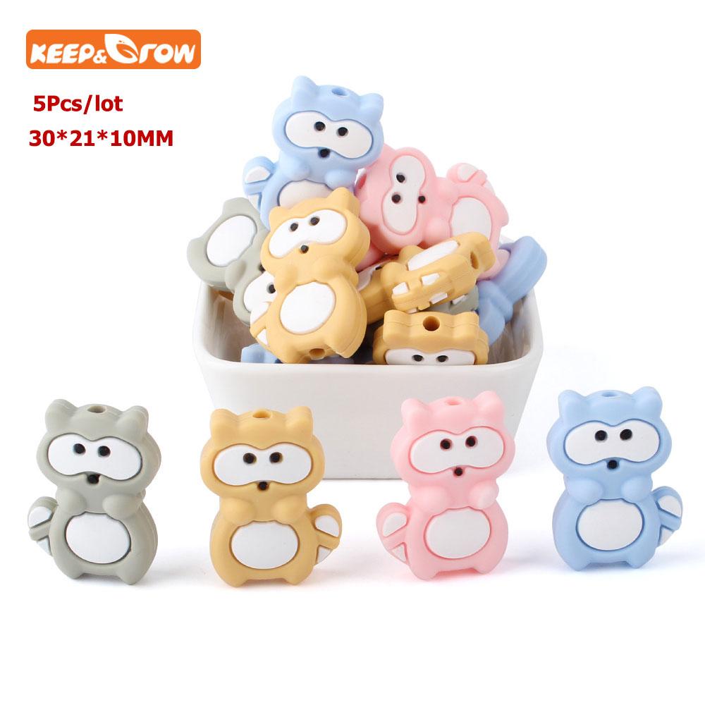 Keep&grow 5Pcs Koala Raccoon Perle Silicone Beads Animals Teething Necklace Bead Shower Gift DIY Crafts Baby Nursing Accessories