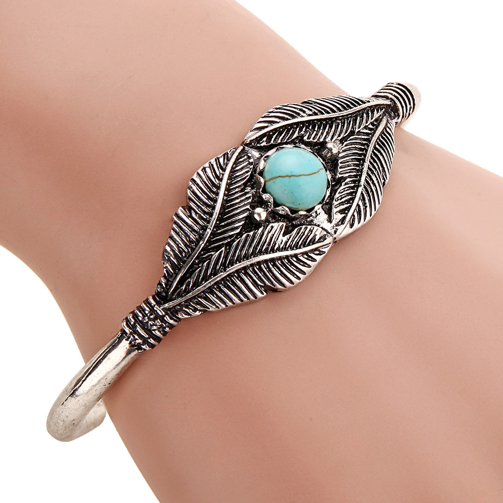 Boho Bracelet Femme Open Leaf Cuff Bangle Tribal Ethnic Indian Native American Jewelry Navajo Dropshipping In Bangles From
