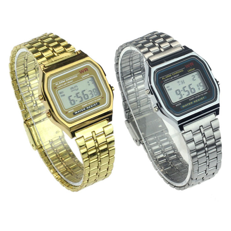 Full Stainless Steel Vintage Digital  Alarm Stopwatch Gold Watch Feida