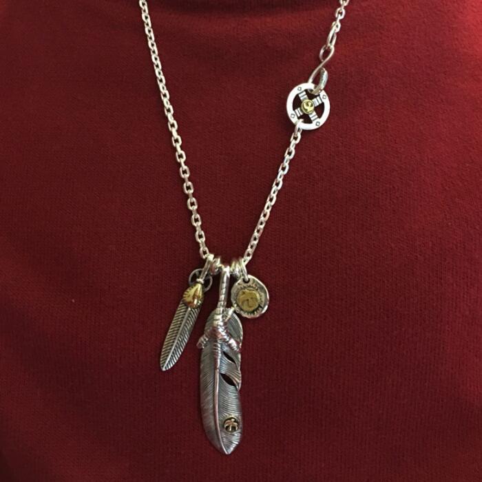 Hanadmade Solide 925 Sterling Argent Hommes Collier Vintage Style Indien Plume D'aigle Griffe Pendentif Pur Thai Chaîne En Argent Collier
