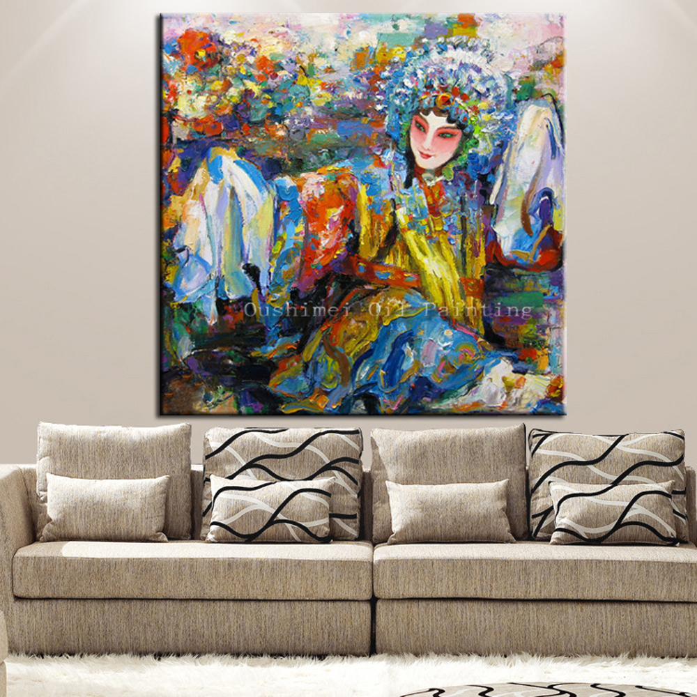 Handmade Oil Painting Figure Paintings Beijing Singing Opera Picture Decor Pictures Traditional Features Painting On Canvas image