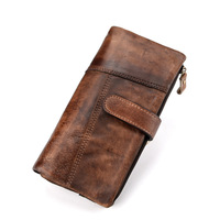 RFID New Men Wallets Handy Bag Luxury Zipper Coin Pocket Phone Bags Long Clutch Real Cow Genuine Leather Wallet Business Purse