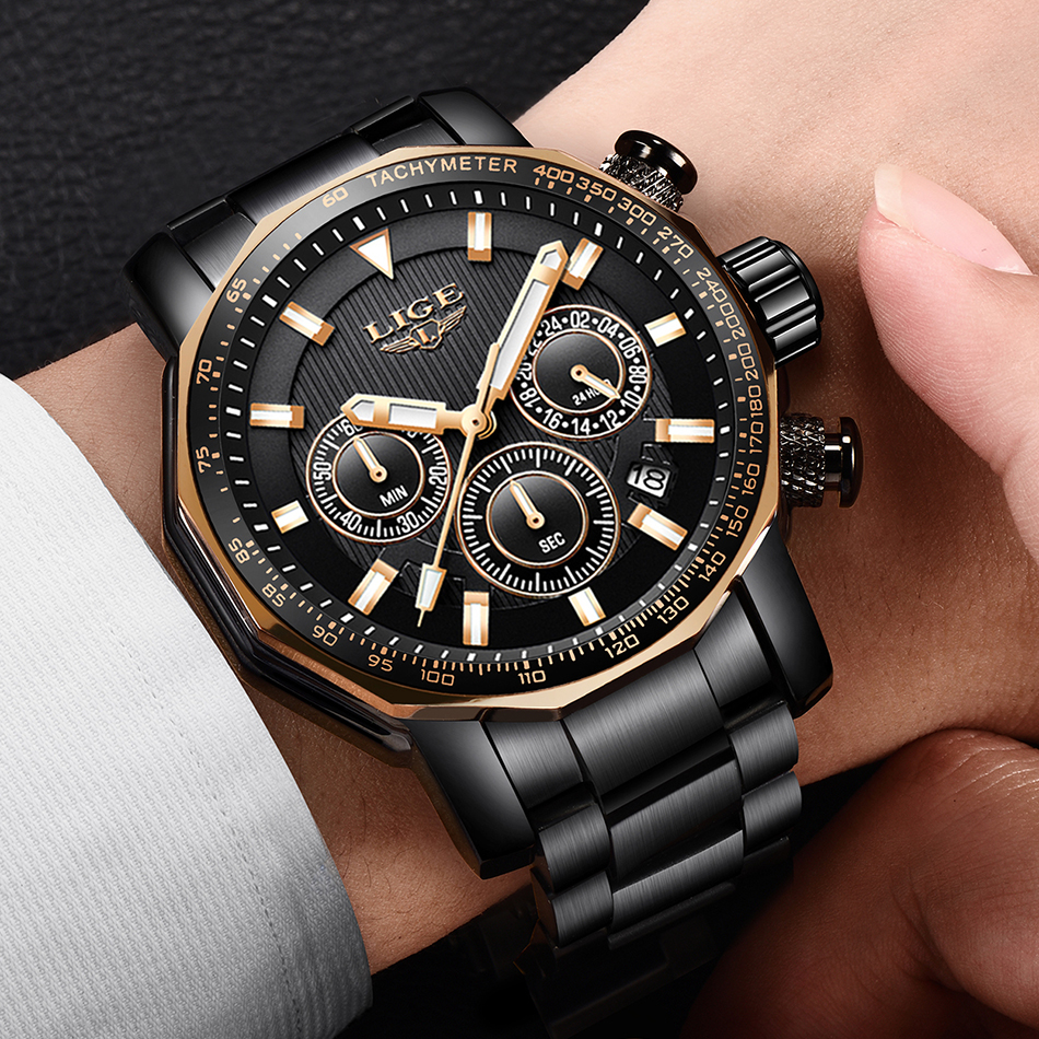 LIGE Men Watch Top Brand Luxury Fashion Military Watch Men Stainless Steel Quartz Watches Waterproof Clock Relogio MasculinoLIGE Men Watch Top Brand Luxury Fashion Military Watch Men Stainless Steel Quartz Watches Waterproof Clock Relogio Masculino