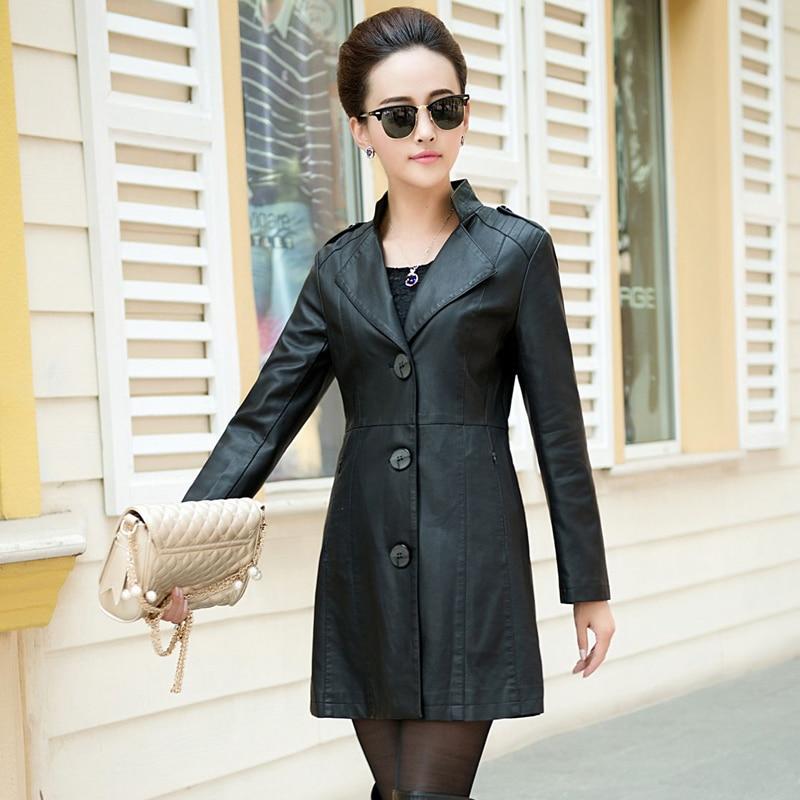 MSAISS Medium-Long   Leather   Jacket Women 2017 New Autumn Plus Women's   Leather   Coat