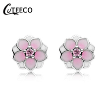 CUTEECO 2019 New Design Magnolia Stud Earrings for Women Pink Epoxy Fits Brand Fine Jewelry Brincos Dropshipping