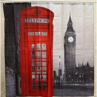 Promotion 1Pcs 180*180cm3D Waterproof Polyester Shower Curtain London Big Ben Patte With 12 Plastic Hooks Home Bathroom Curtains