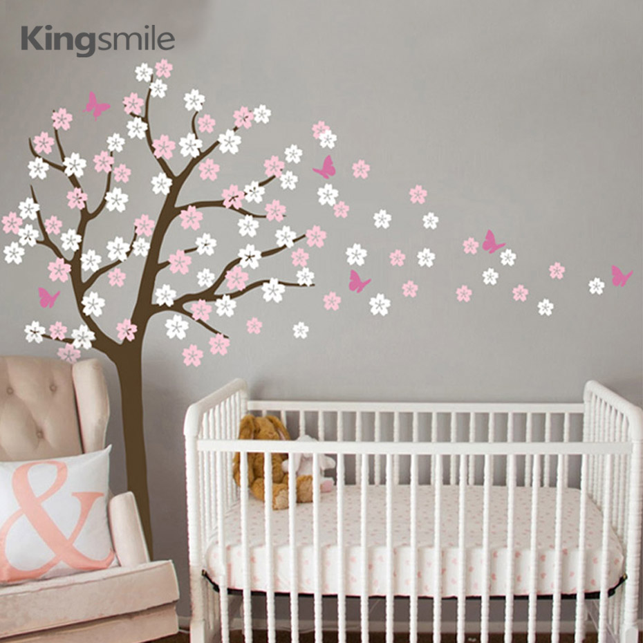 modern flower tree wall sticker white cherry blossom branch vinyl diy nursery decals art wall. Black Bedroom Furniture Sets. Home Design Ideas
