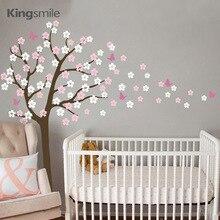 Modern Flower Tree Wall Sticker White Cherry Blossom Branch Vinyl DIY Nursery Decals Art Wall Stickers for Kids Room Home Decor