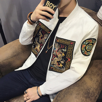 Spring Men Bomber Jacket 2017 New Fashion Chinese Long Pao Jackets Men Slim Fit Long Sleeve