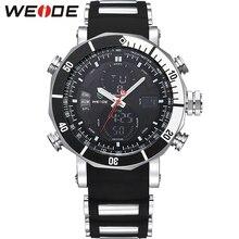 Weide hombres reloj banda de silicona negro resistente al agua 3ATM deportes Dial redondo reloj de pulsera Casual relogios masculinos 2016 / WH5203 Relojes de pulsera relojes deportivos