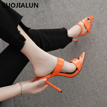 SUOJIALUN 2019 New Women Fahion Slippers Summer Thin High Heels Sandals Fashionable Party Female Ladies Shoes
