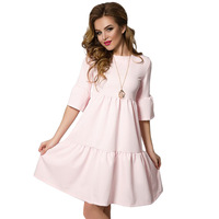 New Arrival 2017 Summer Fashion Women Casual Cute Half Sleeve Patchwork Ruffles Dresses Loose Plus Size