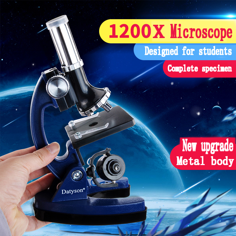 все цены на Student Microscope Kit Lab LED1200X Home School Science Educational Toy Gift Refined Biological Microscope For Kids Child онлайн