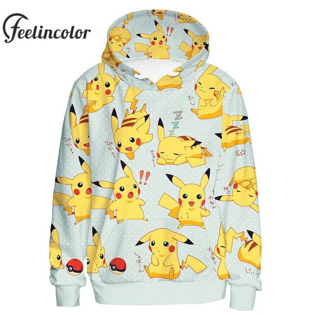 Feelincolor толстовки с покемонами для мужчин 3D печатных куртка Пикачу с капюшоном Kawaii пуловер косплэй унисекс Moletom Уличная С Капюшоном