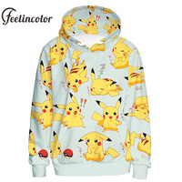 Feelincolor New Arrival Autumn Winter Sweatshirt Pokemon Hoodies Cosplay Pikachu Top Couples Moletom Hooded Cartoon Hoody