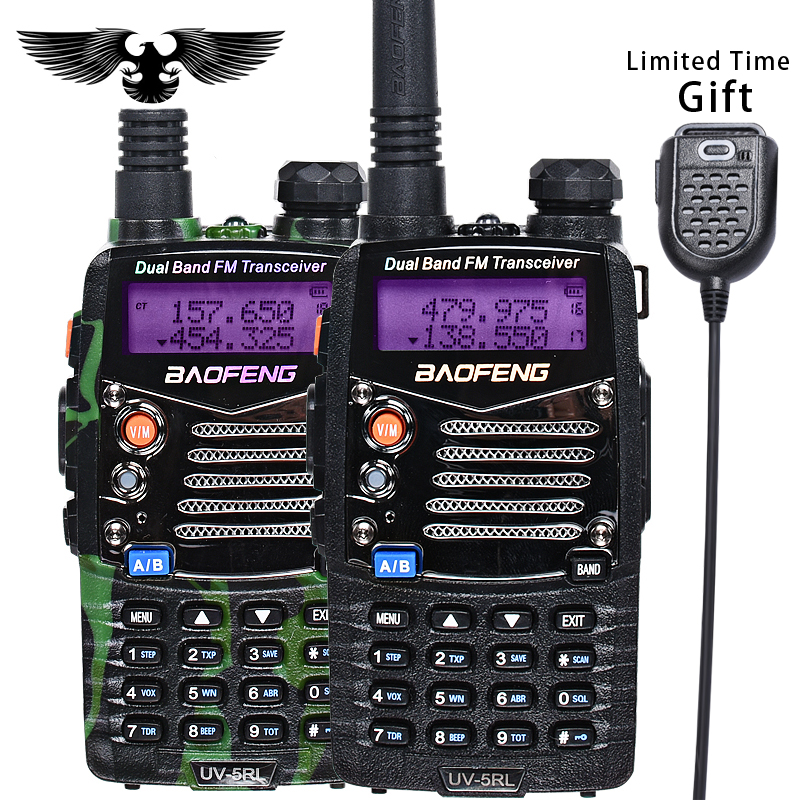 BAOFENG UV 5RL Upgraded Version Walkie Talkie Dual Band CB Radio Flashlight Dual Display FM Transceiver With PIN PTT Speaker Mic