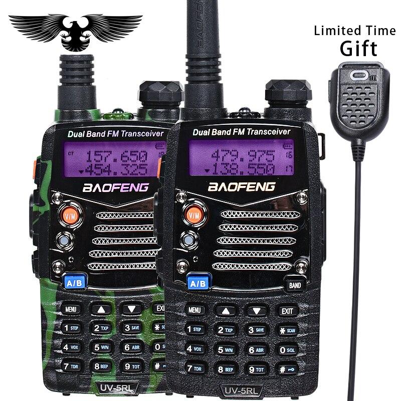BAOFENG UV 5RL Version Améliorée Talkie Walkie Double Bande CB Radio lampe de Poche Double Affichage FM Émetteur-Récepteur Avec PIN PTT Haut-Parleur mic