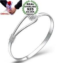 OMHXZJ Wholesale jewelry geometric Romantic cherry blossom woman fashion kpop star Bangles 925 Sterling Silver adjustable SZ08