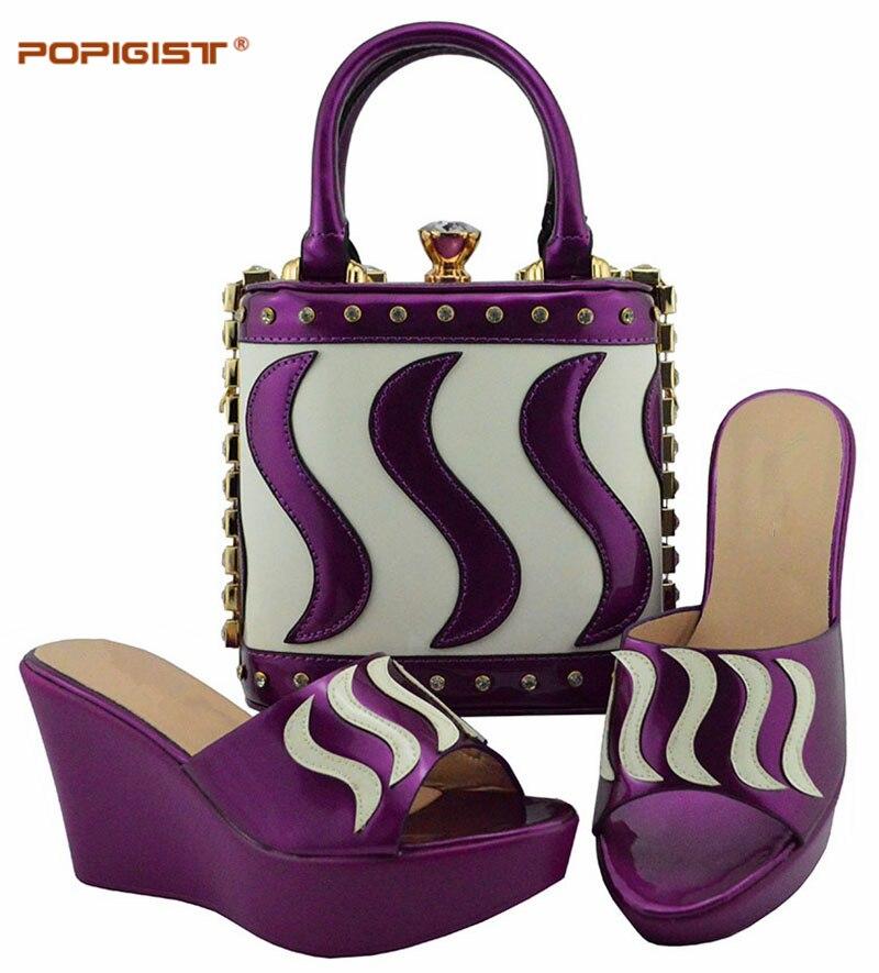 purple fuchsia wine Couleur Avec Mode D'été Black Les royal Chaussures Sac Ensemble Pour Correspondance Femmes Et Pêche De Italiennes Sur Glissement Des peach gold Blue Africain green qSwBgqd