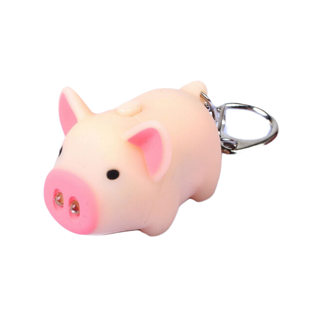 Hot 3 Colors Cute Funny Pig Led Keychains Flashlight Sound Creative Kids Toys Light Key Rings Jewelry