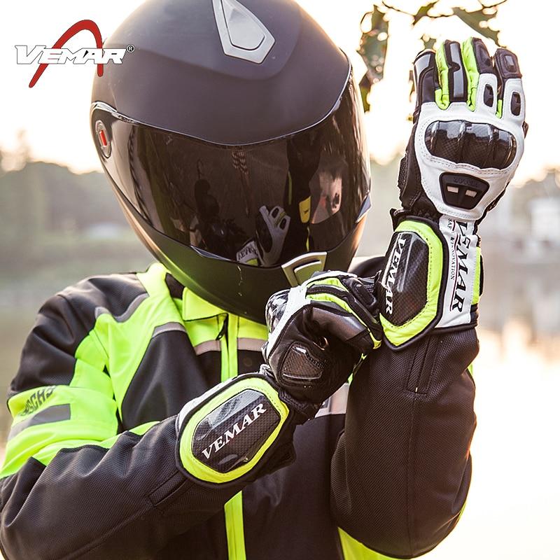 где купить VEMAR Winter Motorcycle Leather gloves  Carbon Fiber Touch Screen Breathable Racing Gloves Guantes Luvas Alpine Motocross Stars по лучшей цене
