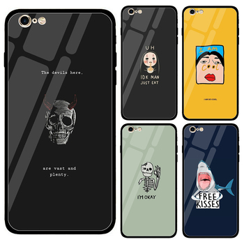 new products b484d 5a486 Glass Cases For iPhone 8 7 6S X XS XMAX XR Interesting Cartoon