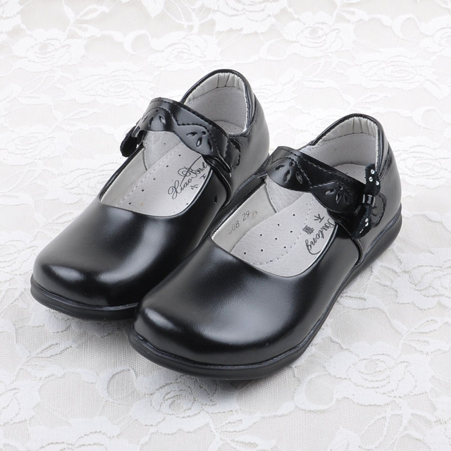 2016 New Black Leather Shoes Children Formal Shoes Girls School
