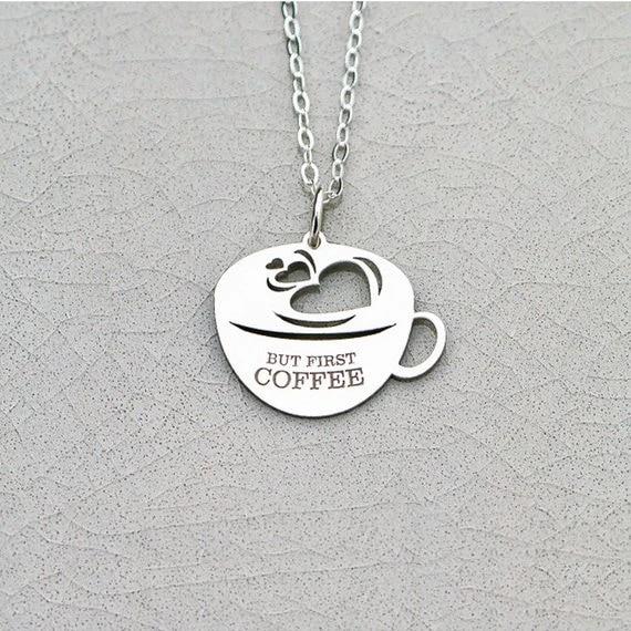 Half circle pendant, Coffee Lovers Gift Idea Geometric Caf\u00e9 Chevron Collar Coffee with Love I love Coffee Coffee Necklace Espresso