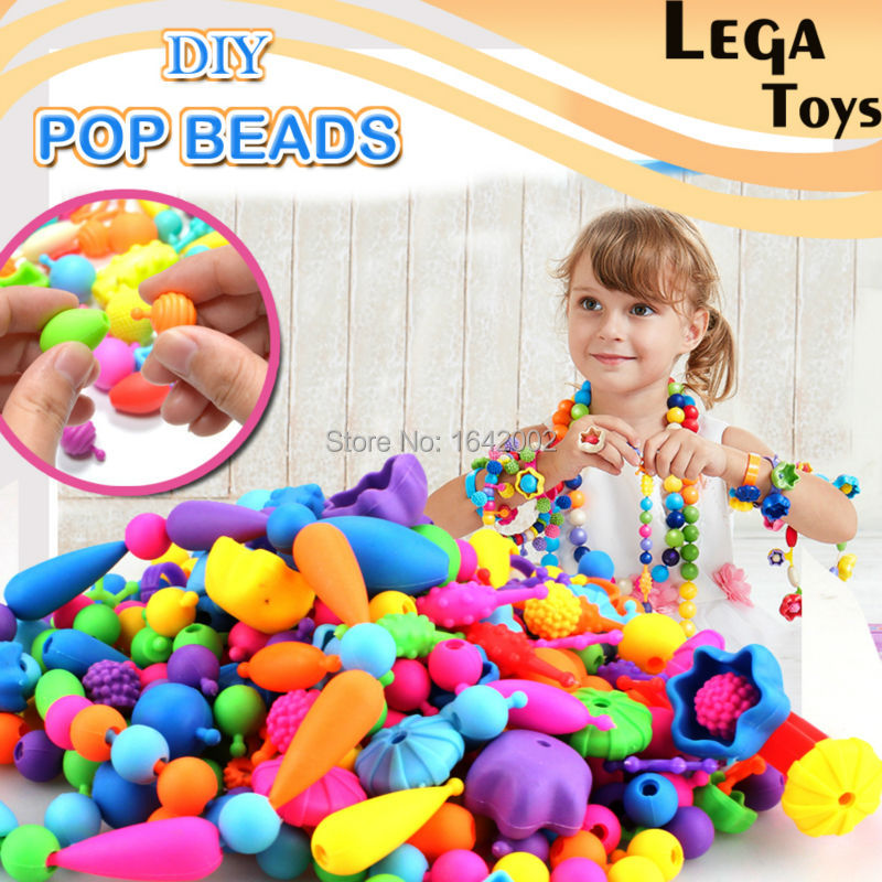 Pop-Arty Beads Snap-Together for Kid Jewelry Fashion Kit DIY Necklace and Bracelet Crafts Birthday Christmas Toy Gifts