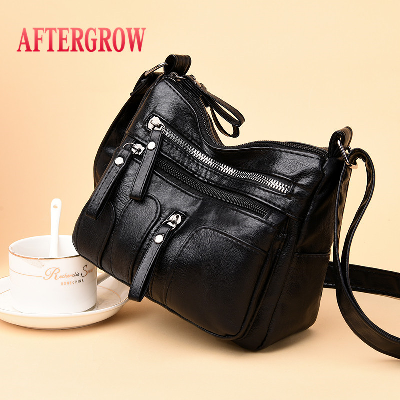 Women Messenger Bag Vintage Black Soft Washed Leather Handbag Daily Female Shoulder Bag Design Zipper Ladies Bags Bolsa Feminina
