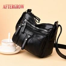 купить Women Messenger Bag Vintage Black Soft Washed Leather Handbag Daily Female Shoulder Bag Design Zipper Ladies Bags bolsa feminina дешево