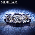 wholesale silver plated ring for women 3 AAA Zircon for wedding rings Exquisite jewelry Size 6 7 8 LSR204 MDREAM
