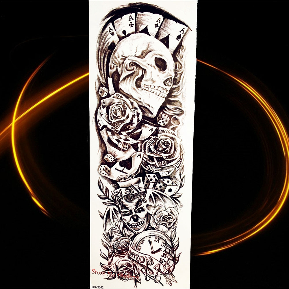 Tattoo & Body Art Waterproof Fake Flash Temporary Tattoo Stickers Skull Head Poker Rose Flower Water Transfer Tattoo Arm Sleeve Bracelet Hqs-q042 Preventing Hairs From Graying And Helpful To Retain Complexion