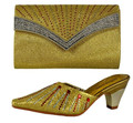 Italian Matching Shoes and Bag Set African Wedding Shoe High Quality Women Shoe And Bag To Match For Party Gold Color 66055