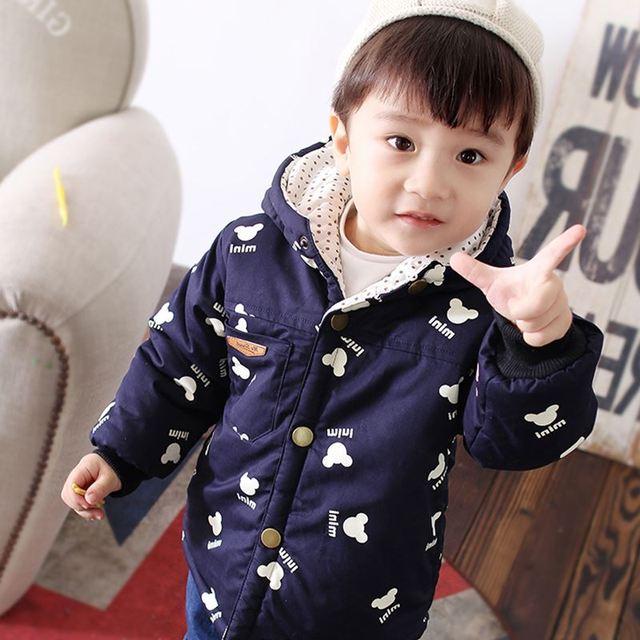 European Style New 2017 Winter Boys Kids Coats Child Windbreaker  Long Sleeve Print Thickening Warm Jackets For Infant Boys