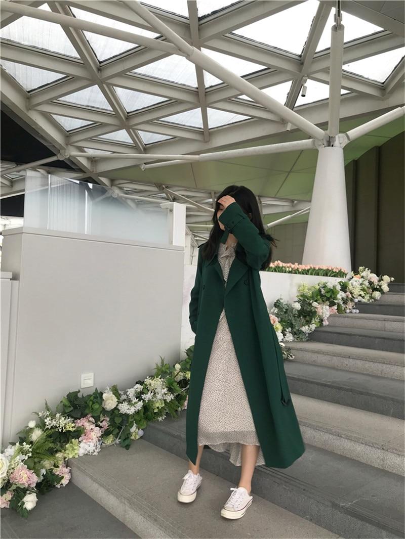 2019 New Spring Autumn women's Green Long   Trench   Coat Female Top V722