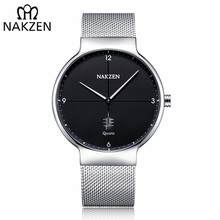 все цены на NAKZEN Men Casual Ultra Thin Quartz Watch Top Brand Luxury Waterproof Mens Watches Male Sports Wrist Watch Relogio Masculino онлайн
