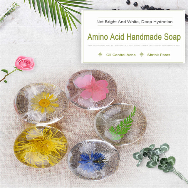 A Gift Amino Acid Gemstone Handmade Soap Flower Inside Natural Non-Stimulating Deep Clean Oil and Acne Control Collagen Randomly 1