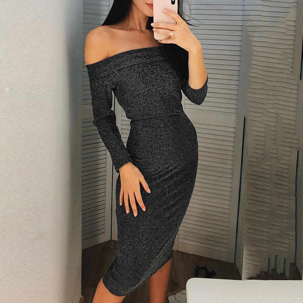 Womens Sexy Solid Off Shoulder Long Sleeve Party Bodycon Slim Maxi Long  dresses woman party night df0bba9ad656