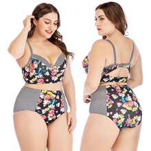 Plus Size Bikini Sets For Women 2 Piece Floral Stripe Swimsuit High Waist Swimwear Push Up Padded Bra Fat Bathing Suit