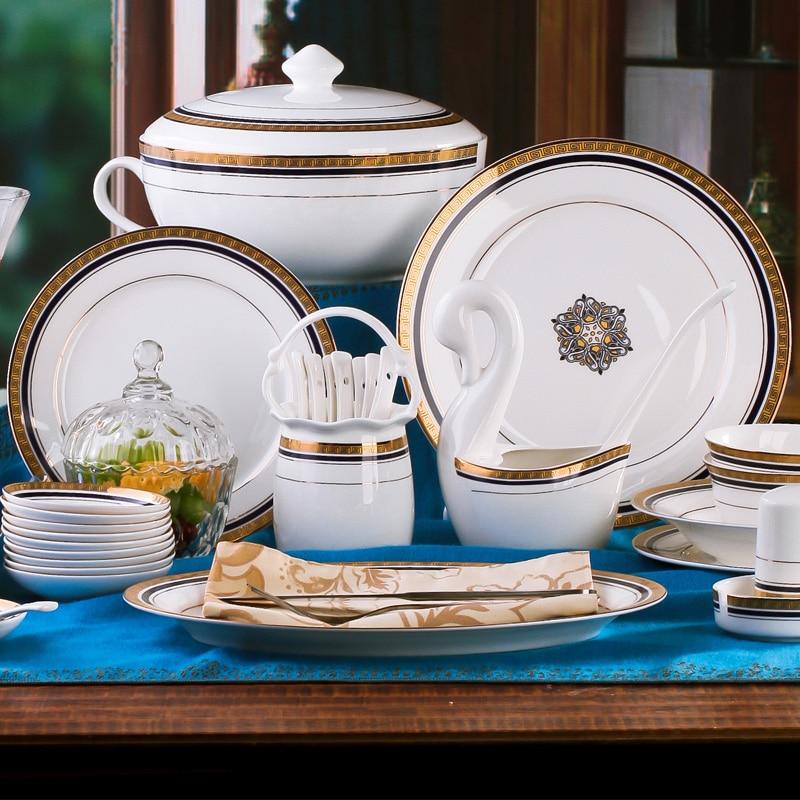 christmas Jingdezhen ceramic tableware bowl set 58 porcelain skull bone china tableware bowl set high foot bowl in Dinnerware Sets from Home Garden