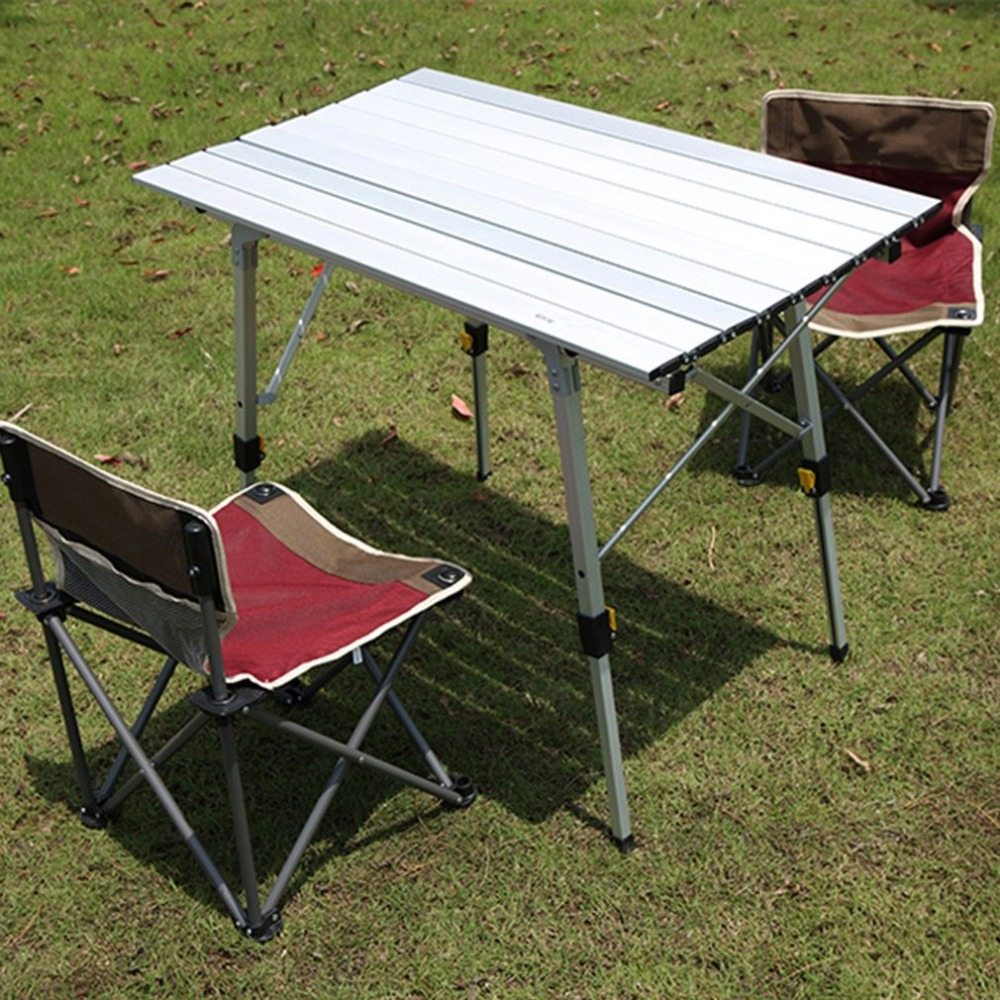 Outdoor Portable Aluminum Alloy Folding Camping Table Height-Adjustable Rolling Table for Outdoor Camping Picnic